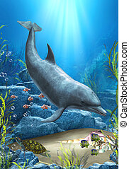 The World Of The Dolphin - A proud dolphin swims in the...