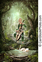 The Elven Forest - A beautiful Elf play chello in the forest...