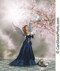 Fairy Land - A Fairy hold a white butterfly in her hand and...