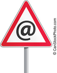 Road sign mail fraud - Conceptual vector illustration of at...