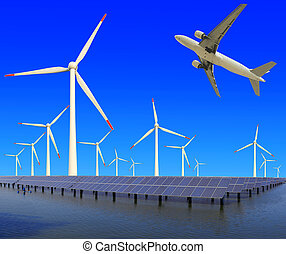 Aircraft is flying in eco power of wind turbines and solar panel plant at concept