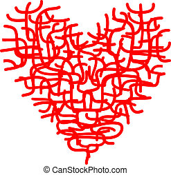 Abstract red heart sketch for your design