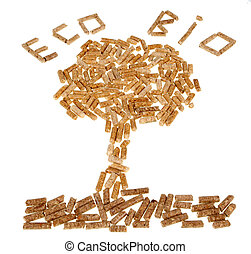 Tree of wood pellet on white background