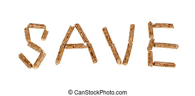 Wood pellets - Text save made by wood pellets on white...