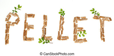Wood pellets - Text pellet made by wood pellets on white...