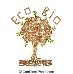 Tree of wood pellet on white background with leaves