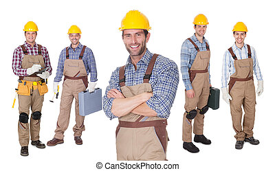 Portrait of happy construction workers
