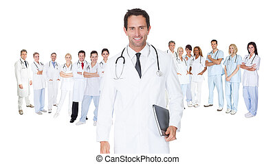 Large group of doctors and nurses. Isolated on white