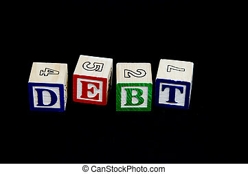 Debt - Building blocks spelling the word debt