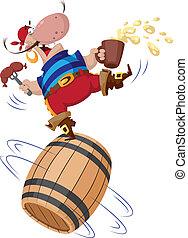 pirate on a barrel - illustration of a pirate on a barrel
