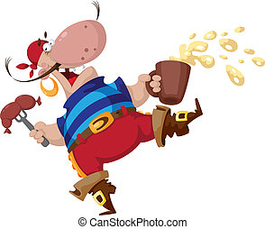 pirate with sausage - illustration of a pirate with sausage