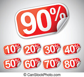 Discount labels. - Set of discount labels from 10 to 90...