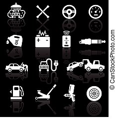 Car service icons, white on black background with...