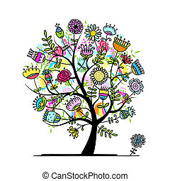 Sketch of floral tree for your design