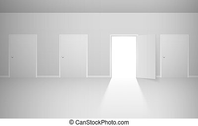 Abstract room with four doors Illustration for design