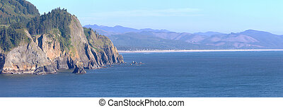 Cape Falcon viewpoint Oregon coast panorama. - Cape Falcon...