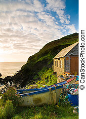 Boats and Lobster Pots - Colourful fishing boats and lobster...