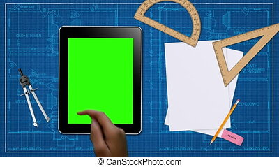 Hand Gestures on a Tablet - A person performing several Hand...
