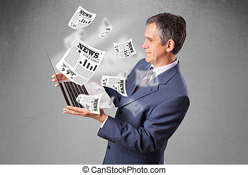 Handsome middle aged businessman holding notebook and...