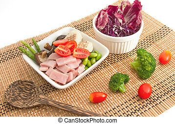 ham salad and mix vegetable
