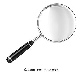 Magnifier! - Magnifier. 3D image. On a white background.