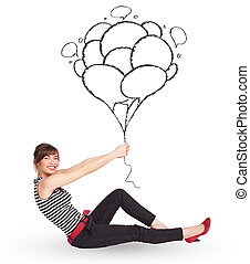 Happy woman holding balloons drawing - Happy young woman...