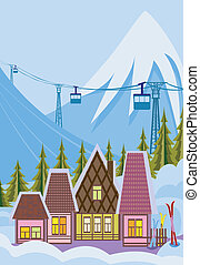 Small ski resort - Illustration of ski resort and mountain...
