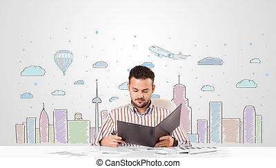 Attractive businessman with city sky-scape background -...