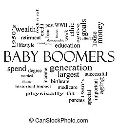 Baby Boomers Word Cloud Concept in black and white with...