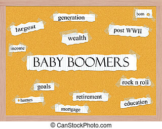 Baby Boomers Corkboard Word Concept with great terms such as...