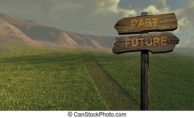 sign direction past - future  made in 3d software