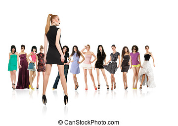Group of young women isolated - Large group of young women...