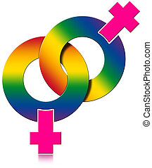Gay Female Rainbow Colored Symbol - Two Female symbols...