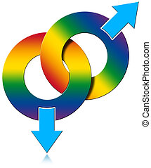 Gay Male Rainbow Colored Symbol - Two Male symbols rainbow...