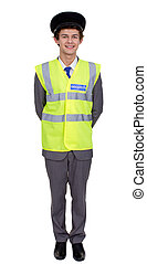 Security man - A security guard in uniform with a hat,...