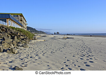 Sand foot-prints in Cannon beach Oregon - Sand prints and a...
