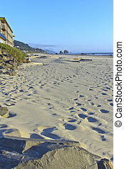 Sand foot-prints in Cannon beach Oregon - Sand foot prints...