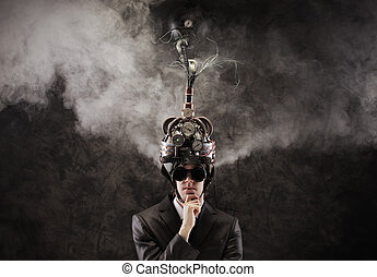 mind control - Business man wearing a brain-control helmet,...