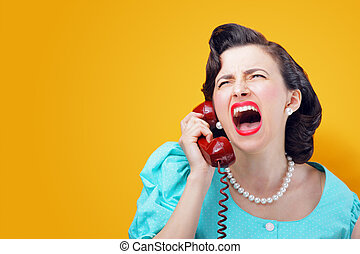 Angry woman screaming on the phone - Vintage Woman shouting...