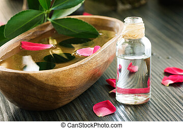 Spa setting - Natural spa setting with rose water.