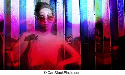 a sexy gogo dancer shot against a unique coloured chrome...