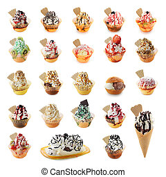 Ice cream collection - Collage of different Ice-cream sundae...