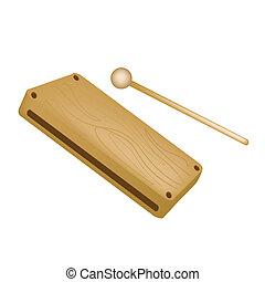 Um, musical, madeira, bloco, isolado, branca, fundo