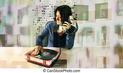 stop motion of a woman listening to music on a retro record...