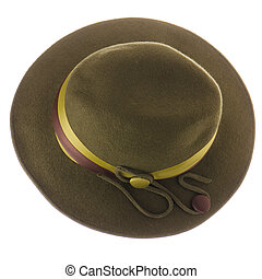 Green vintage hat isolated on white background.
