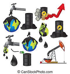 oil industry - Illustration of the oil industry, oil icons,...
