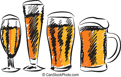 beer glasses illustration