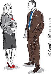 BUSINESS PEOPLE TALKING ILLUSTRATION