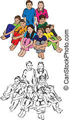 Group of students illustration