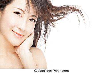 close up young beautiful Woman face